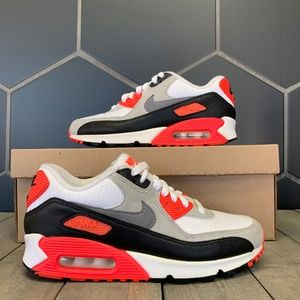 Womens Nike Air Max 90 OG White Red Running Shoes